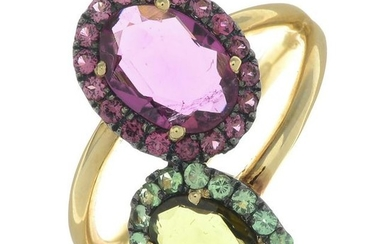 A 'You and Me' ring, designed with pink and green