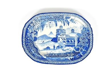 A blue and white transferware charger 19th century,...