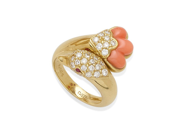 A coral and diamond swan bypass ring