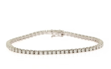 A diamond bracelet set with numerous brilliant-cut diamonds weighing a total of app. 3.87 ct., mounted in 18k white gold. L. app. 18 cm.