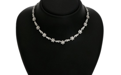 A diamond necklace set with numerous brilliant-cut diamonds, mounted in 14k white gold. L. 40 cm.
