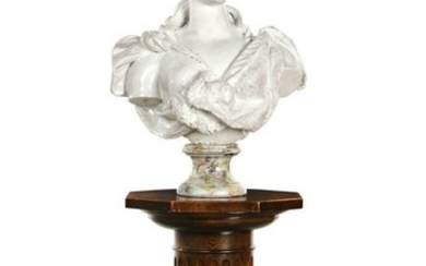 A glazed terracotta life-size bust of Diana