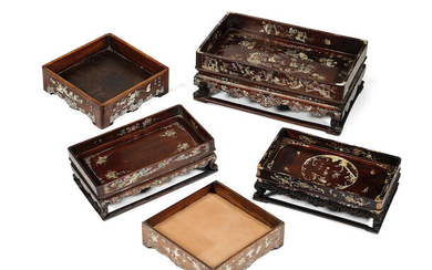 A group of mother-of-pearl inlaid hongmu stands