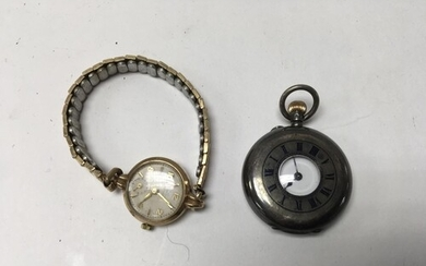 A ladies .935 silver half hunter pocket watch and a 9ct gold...
