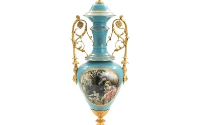 NOT SOLD. A late 20th century porcelain vase and cover with bronze mounting. Faux Sèvres...