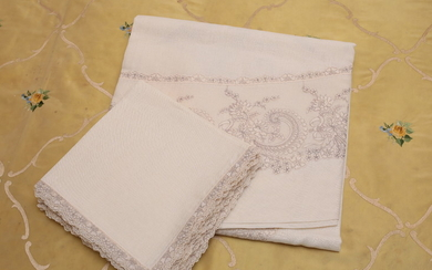 A linen and lace tablecloth, florentine manufacture