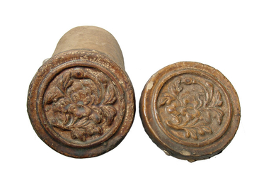 A pair of Chinese ceramic roof tiles