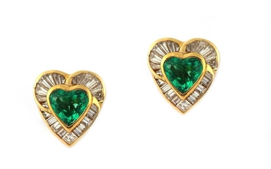 A pair of emerald and diamond earclips, by H. Stern