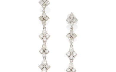 A pair of white gold and diamond drop earrings