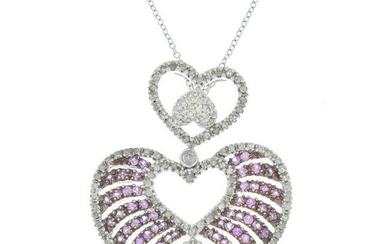 A pink sapphire and diamond heart pendant, suspended