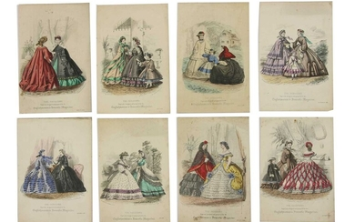 A portfolio of silhouettes and hand tinted engravings of Victorian fashion