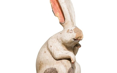 "A rare Japanese or Chinese carved and painted wood sulpture of a ""moon rabbit"", 19th century"