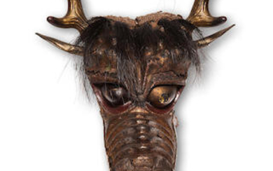 A rare lacquered-leather horse mask