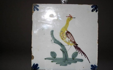 A very scarce mid 18th century Liverpool delft tile