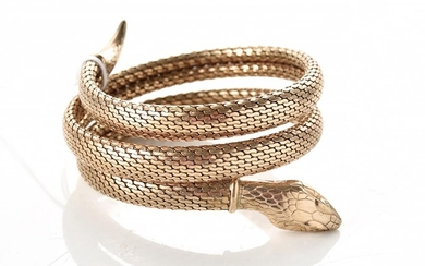 AN ANTIQUE GOLD PLATED SNAKE BRACELET