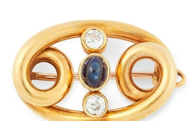 AN ANTIQUE SAPPHIRE AND DIAMOND BROOCH in yellow gold
