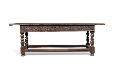 AN ENGLISH OAK REFECTORY TABLE, CONSTRUCTED FROM 17TH CENTURY AND LATER ELEMENTS