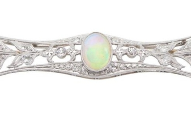 AN OPAL AND DIAMOND BROOCH