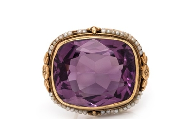 ANTIQUE, AMETHYST AND SEED PEARL BROOCH