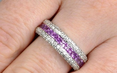 An 18ct gold square-shape pink sapphire half eternity