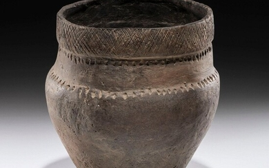 An Incised Hopewell Pottery Jar, 7-3/4 x 7-1/4 in.