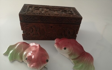 An Indian Hardwood box. 19th century. And a pair of Pottery ...