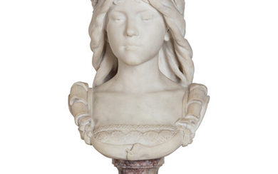An Italian Carved Marble Bust of a Lady