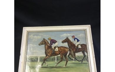 An early 20th century oil on canvas horse racing. Signed low...