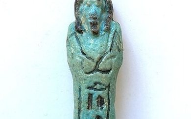 Ancient Egyptian Faience Bichrome Inscribed Shabti for INI