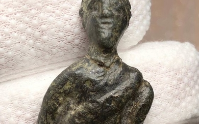 Ancient Roman Bronze Bust of Male wearing Toga and Laurel Wreath - 41 mm