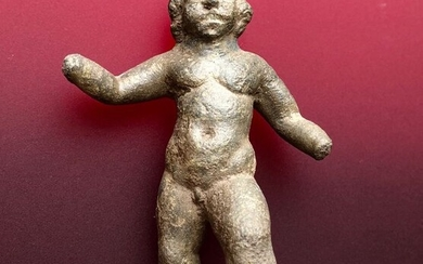 Ancient Roman Bronze Excellent Figurine of an Eros (Cupid) with a Proportional Body in Movement (Not Static)