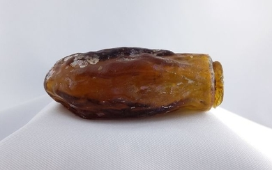 Ancient Roman Sidonian Glass Date-Shaped Flask 6cm Amber Colored - 6×3.5×2.6 cm