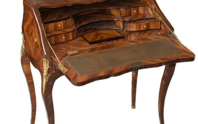 Antique Inlaid Marquetry Wooden Desk