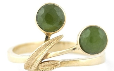 """Antique """"Toi et Moi"""" - 14 kt. Yellow gold - Ring Jade"""