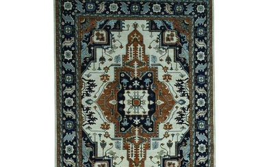 Antiqued Heriz Hand-Knotted Pure Wool Oriental Rug