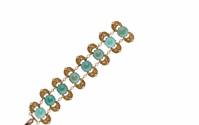 Art Nouveau Gold, Turquoise, and Diamond Bracelet