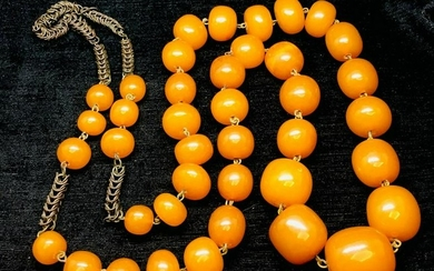 Beautiful Unique Antique Amber Necklace made from