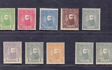 Belgian Congo 1887 - Leopold II three quarters to the right: complete series and two never issued denominations - OBP / COB 6/13 + 13A + 13B