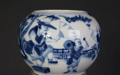 Blue and white brushwash pot or water pot, thin porcelain, Kangxi marked (1) - Blue and white - Porcelain - China - 19th century