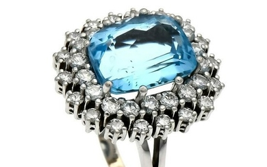 Blue topaz brilliant ring