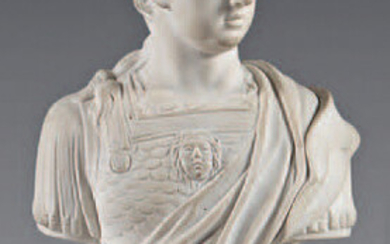 Bust and a bisque porcelain base from the 18th century, possibly Mennecy. Representing a Roman emperor on a high rocaille base.