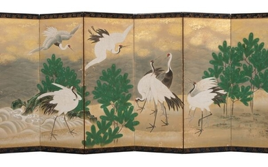Byobu, Folding screen - gold sprinkled paper - With signature 'Tan'yū' 探幽 - Large continous painting of 7 colorfull cranes, 2 still flying and 5 along a wildly undulating river - Japan - late Edo period - 180 - 220 years old