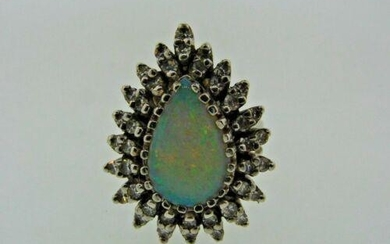CHIC 14k White Gold, Diamond & Opal Ring Circa 1960s
