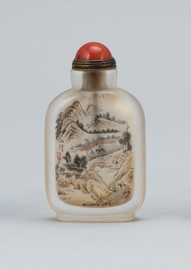 CHINESE INTERIOR-PAINTED GLASS SNUFF BOTTLE Rectangular. Obverse depicts boatmen in a river through a mountainous landscape, signed...