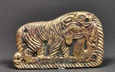 CHINESE ORDOS GILDED PLAQUE WITH TIGER AND DEER
