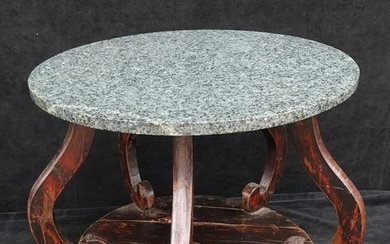 "CHINESE STONE TOP TABLE 22""H 25"" DIA."