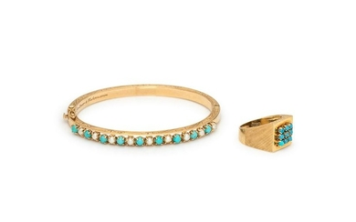 COLLECTION OF YELLOW GOLD AND TURQUOISE JEWELRY