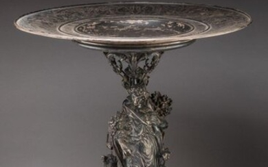 "COMPETITION TROPHY by FROMENT-MEURICE, 1858 in chased and repoussé silver. Circular cup engraved with foliage and agrarian symbols, inscribed on the rim ""REGIONAL COMPETITION OF ALENCON PRIME D'HONNEUR 1858"". A baluster shaft to which two female..."