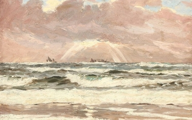 Carl Locher: A view from the coast in Skagen. Signed and dated Carl Locher Skagen 1900. Oil on canvas. 48×62 cm.