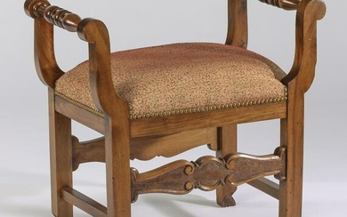 Carved walnut Provincial style seat